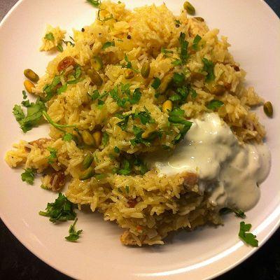 Pilaf Reis (Marokkanisch) mit Hähnchen, Pistazien & Rosinen