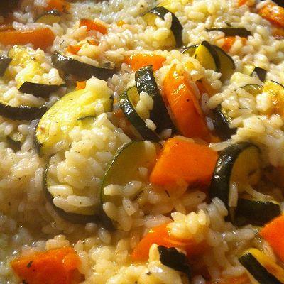 Risotto mit Zucchini, Süßkartoffeln und Thymian (Vegetarisch)