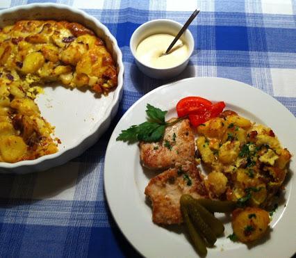 Schnitzel und Kartoffelauflauf