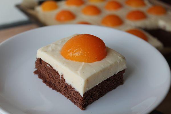 Spiegeleikuchen mit Schokoladenboden und Pudding-Schmand-Creme