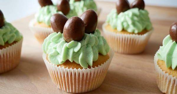 Ostnernest Cupcakes mit Schokobons